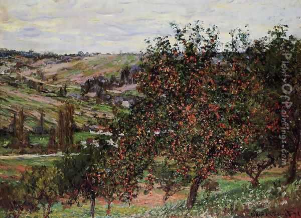 Apple Trees Near Vetheuil Oil Painting - Claude Oscar Monet