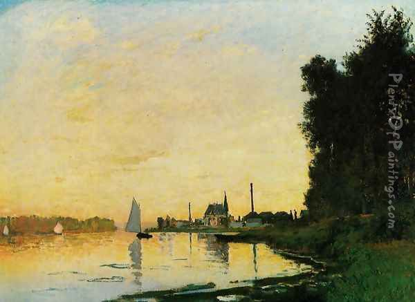 Argenteuil, Late Afternoon Oil Painting - Claude Oscar Monet