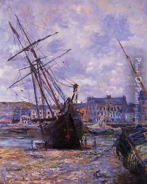Boats Lying At Low Tide At Facamp Oil Painting - Claude Oscar Monet