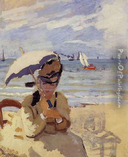 Camille Sitting On The Beach At Trouville Oil Painting - Claude Oscar Monet