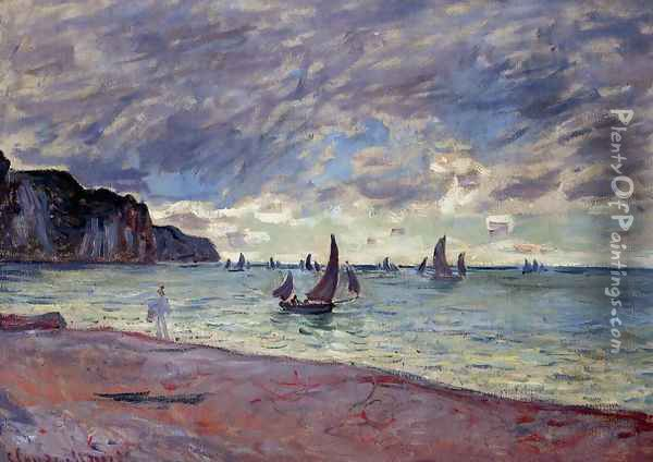 Fishing Boats By The Beach And The Cliffs Of Pourville Oil Painting - Claude Oscar Monet