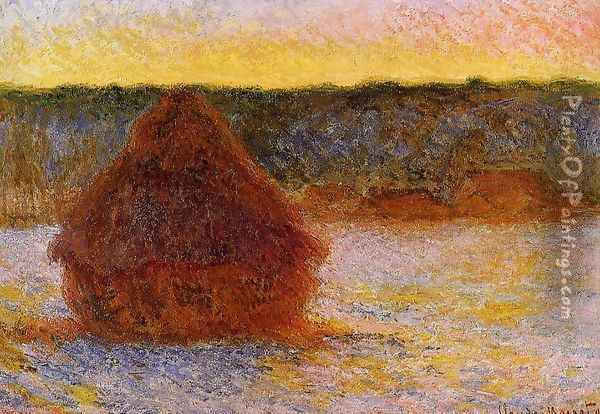 Grainstack At Sunset Winter Oil Painting - Claude Oscar Monet