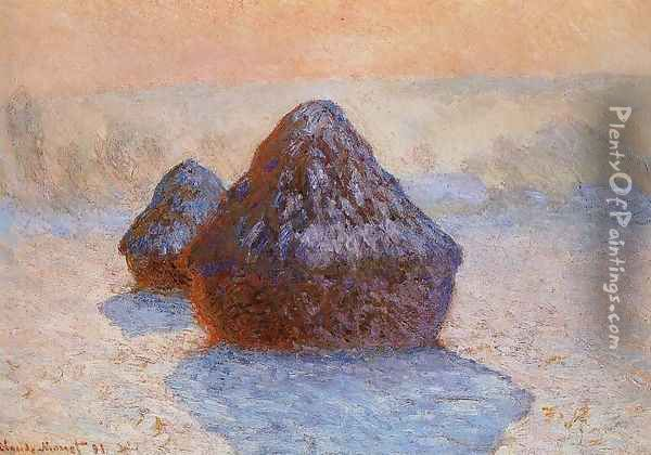 Grainstacks White Frost Effect Oil Painting - Claude Oscar Monet