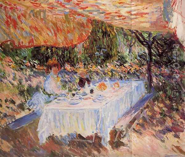 Luncheon Under The Canopy Oil Painting - Claude Oscar Monet