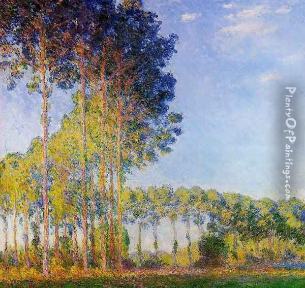 Poplars On The Banks Of The River Epte In Autumn Oil Painting - Claude Oscar Monet