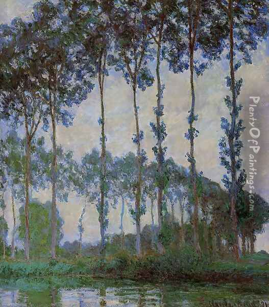 Poplars On The Banks Of The River Epte Overcast Weather Oil Painting - Claude Oscar Monet
