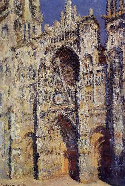 Rouen Cathedral, the Portal and the Tour d'Albane, Full Sunlight Oil Painting - Claude Oscar Monet
