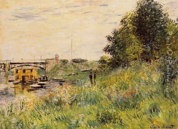 The Banks Of The Seine At The Argenteuil Bridge Oil Painting - Claude Oscar Monet