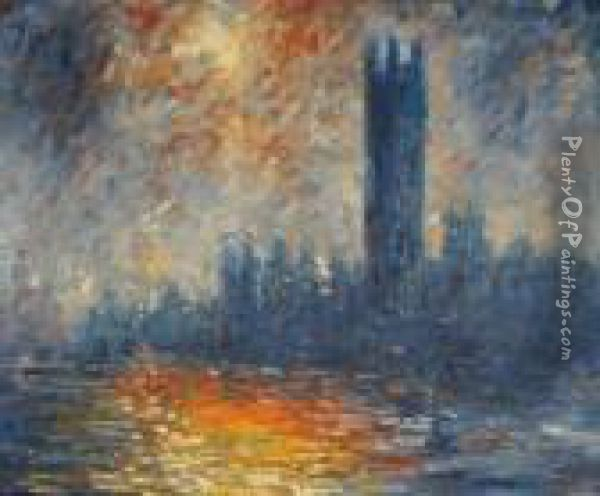 The Houses Of Parliament Oil Painting - Claude Oscar Monet