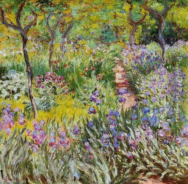 The Iris Garden At Giverny Oil Painting - Claude Oscar Monet