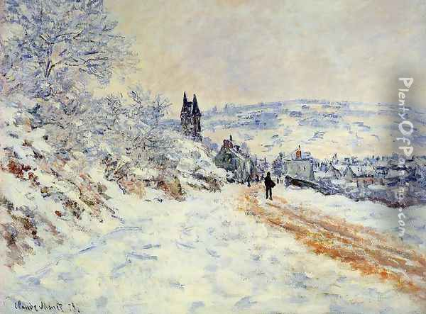 The Road To Vetheuil Snow Effect Oil Painting - Claude Oscar Monet