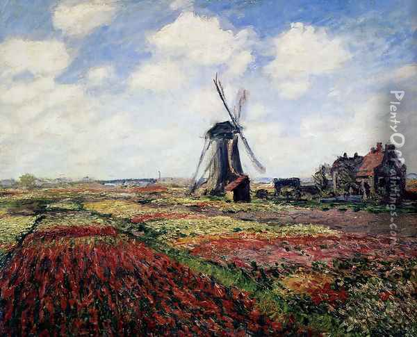 Tulip Fields With The Rijnsburg Windmill Oil Painting - Claude Oscar Monet