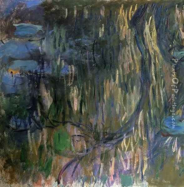 Water-Lilies, Reflections of Weeping Willows (left half) Oil Painting - Claude Oscar Monet