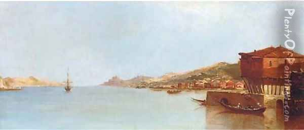 A calm day off a Mediterranean harbour, thought to be Corsica Oil Painting - Continental School