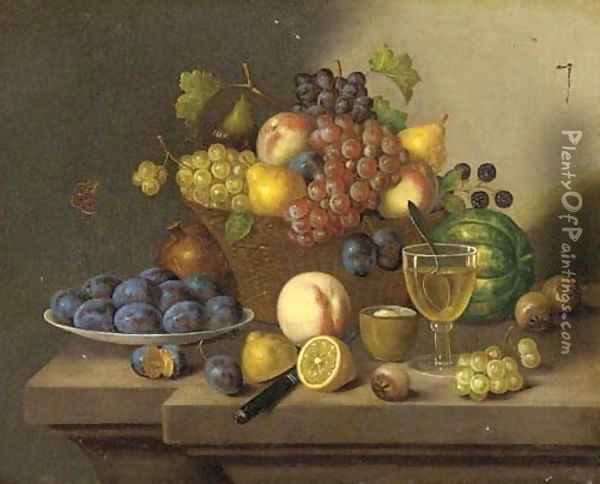 A still life of grapes, pears and apples in a wicker basket and plums, lemons and a peach on a ledge Oil Painting - Continental School