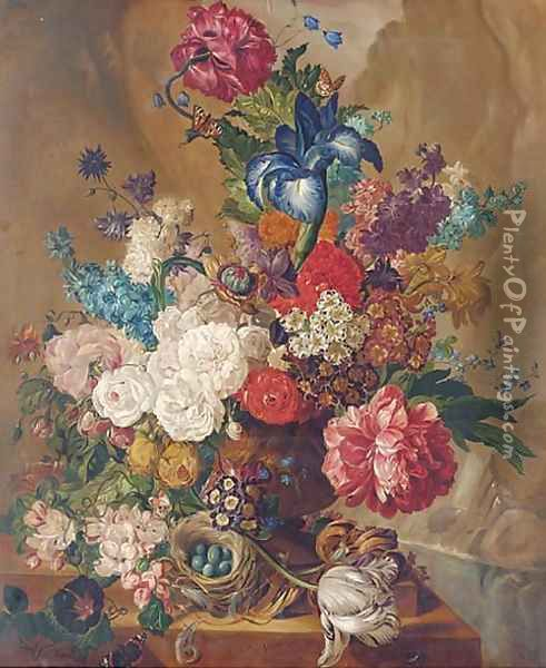 Summer flowers, including irises, tulips, roses in vase, with a bird's nest and eggs to the side Oil Painting - Continental School