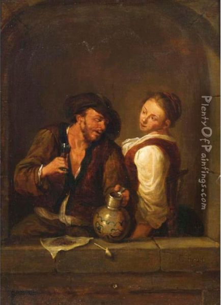 A Couple Drinking And Smoking In An Arched Window Oil Painting - Cornelis (Pietersz.) Bega