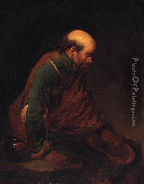 An Old Man Leaning Against A Table Oil Painting - Cornelis (Pietersz.) Bega