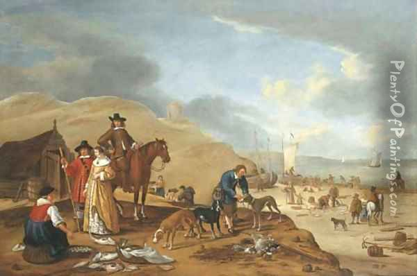 A coastal landscape with elegant company by a fish stall on a beach Oil Painting - Cornelis Beelt