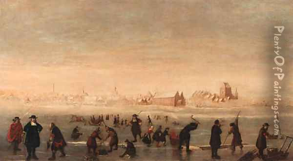 Kolfers, skaters and elegant townsfolk on a frozen waterway, a town beyond Oil Painting - Cornelis Beelt