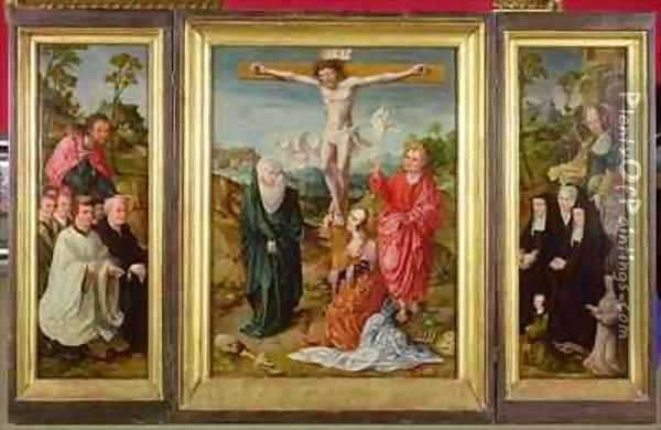 Triptych of The Crucifixion St Barbara with Donors St James the Greater with Donors The Crucifixion Oil Painting - Cornelis Engelbrechtsen
