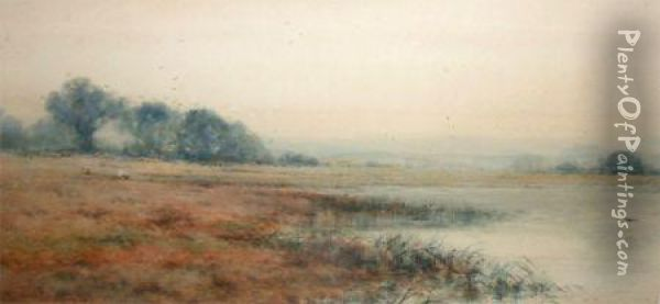 Open River Landscape With Sheep Grazing In Distance Oil Painting - Creswick Boydell