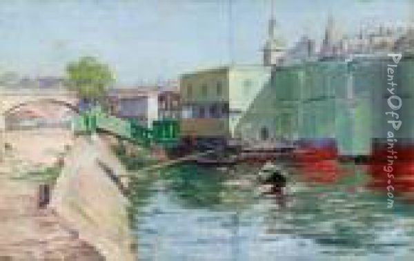 A View Of The Seine Oil Painting - Cullen Yates