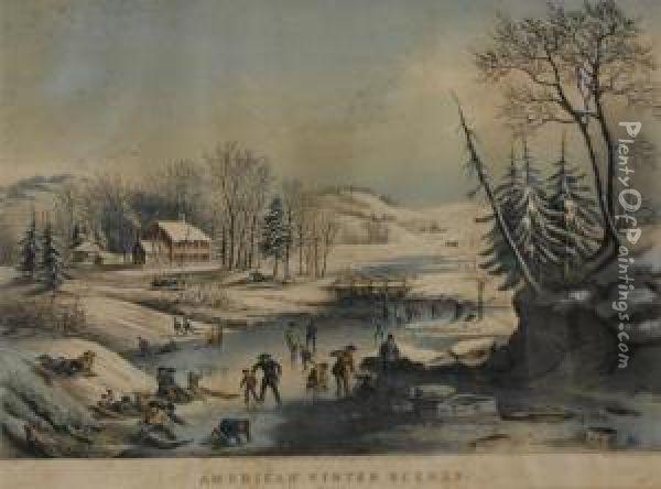 Morning, American Winter Scenes Oil Painting - Currier