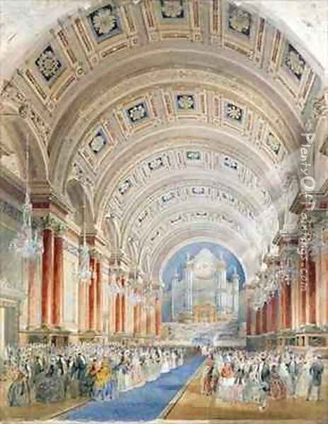 Interior Perspective, Leeds Town Hall Oil Painting - Cuthbert Brodrick