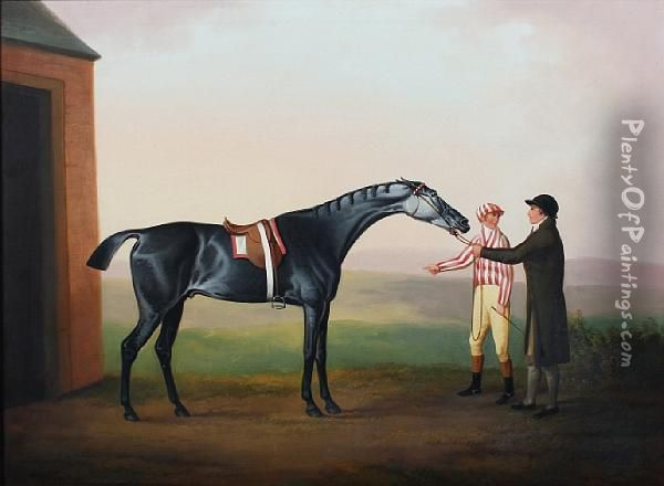 Racehorse With Rider And Groom Oil Painting - Daniel Clowes