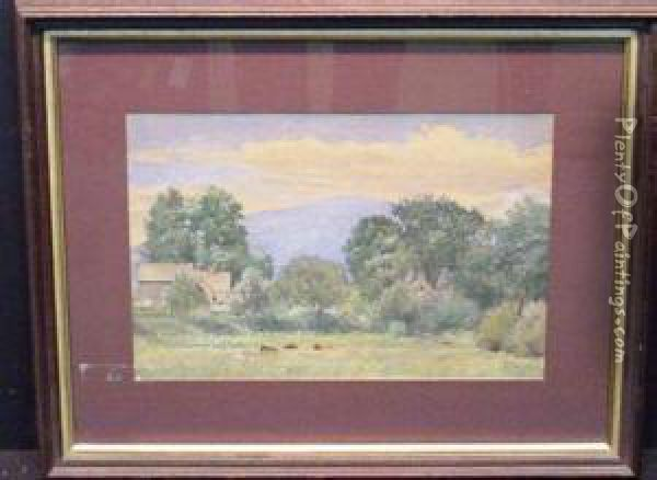 Farmhouse With Mountains In The Distance Oil Painting - Daniel F. Wentworth