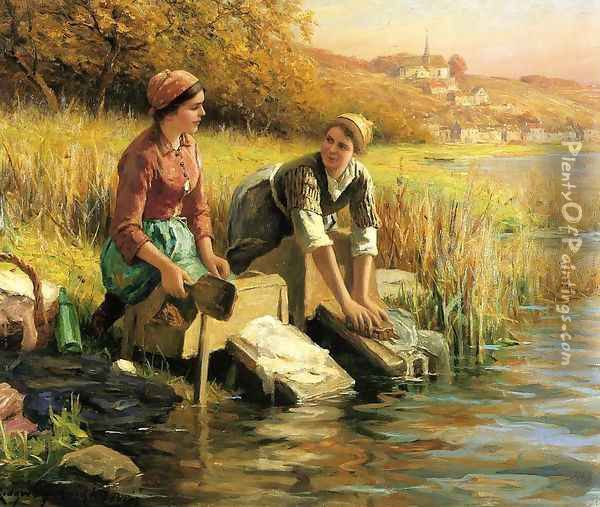 Women Washing Clothes By A Stream Oil Painting - Daniel Ridgway Knight