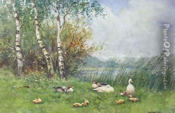 Ducks and ducklings on a river bank Oil Painting - David Adolf Constant Artz