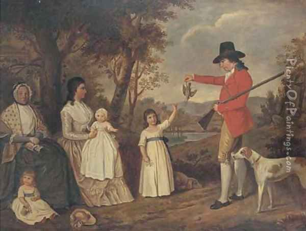 A group portrait of the Spreull family at Charing Cross, Glasgow, James Spreull, full-length, holding a woodcock with a gundog at his side Oil Painting - David Allan