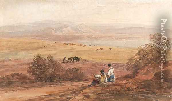 Figures in a rural landscape with the sea beyond Oil Painting - David Cox