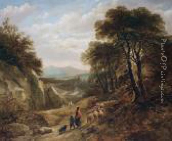 Herding Sheep On A Woodland Track Oil Painting - David Cox