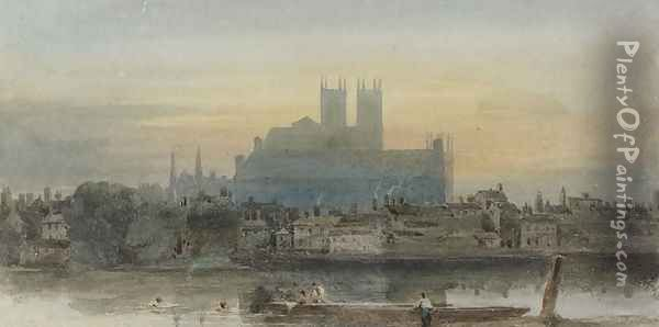 Westminster from Lambeth, c.1813 Oil Painting - David Cox