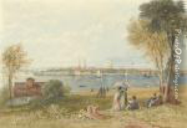 View Of Southampton Water Oil Painting - David I Cox