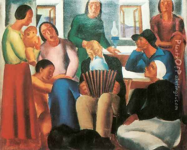 Singing family 1933 Oil Painting - David Jandi