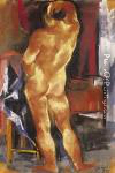 Standing Nude In Interior Oil Painting - David Jandi