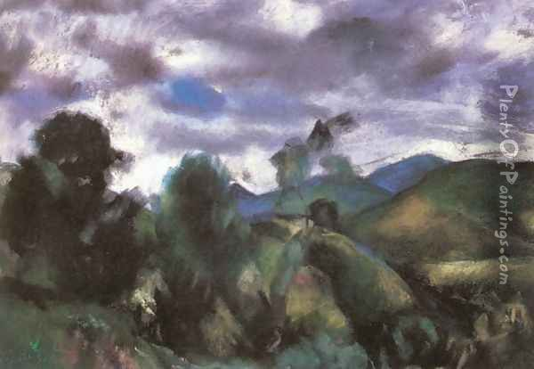 Stormy Landscape 1925 Oil Painting - David Jandi