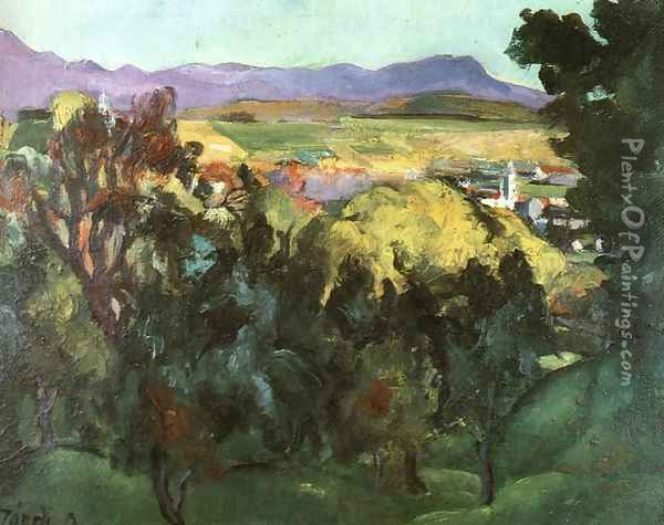 View of Nagybanya 1925 Oil Painting - David Jandi