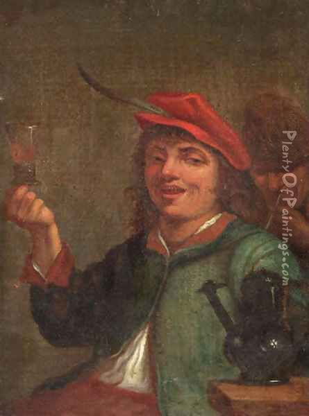 A boor drinking at table in an inn Oil Painting - David The Younger Teniers