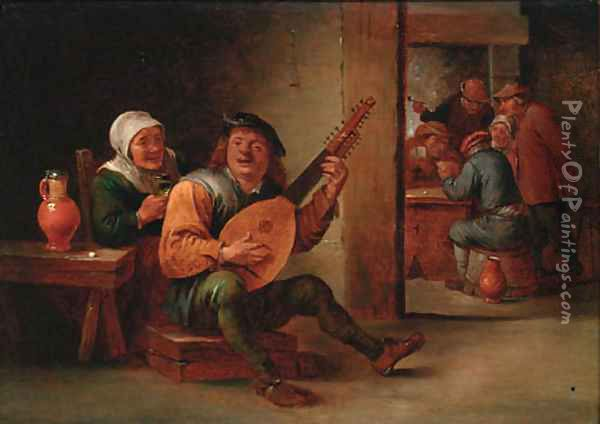 A boor playing a lute in an interior with a woman drinking at his side, peasants playing cards beyond Oil Painting - David The Younger Teniers