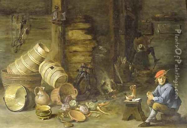 A young man filling a pipe in an interior Oil Painting - David The Younger Teniers