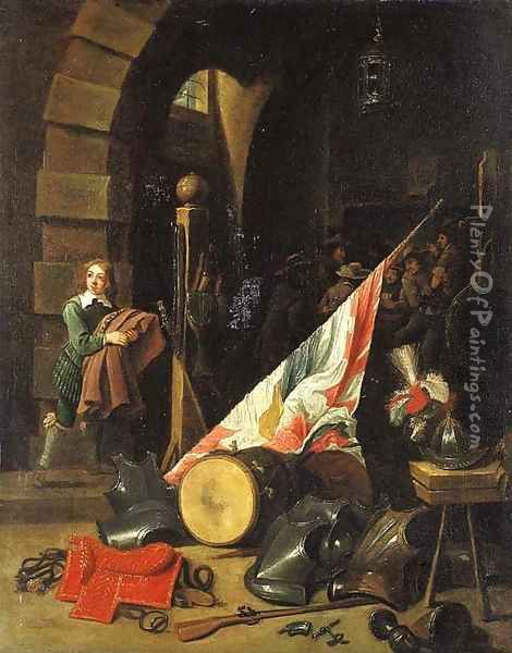 Armour, a saddle, a drum, a banner, a plumed helmet on a bench and other objects in a guardroom Oil Painting - David The Younger Teniers