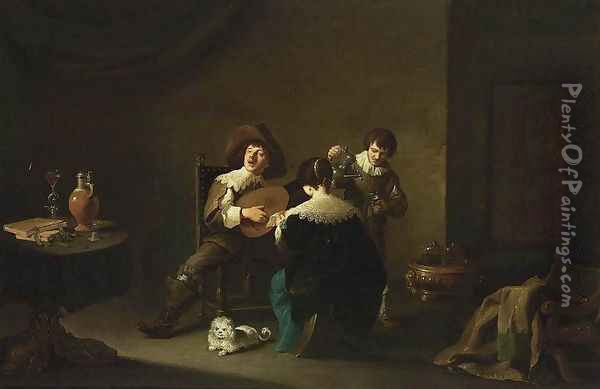 Interior with a Gentleman Playing a Lute and a Lady Singing 1640-42 Oil Painting - David The Younger Teniers