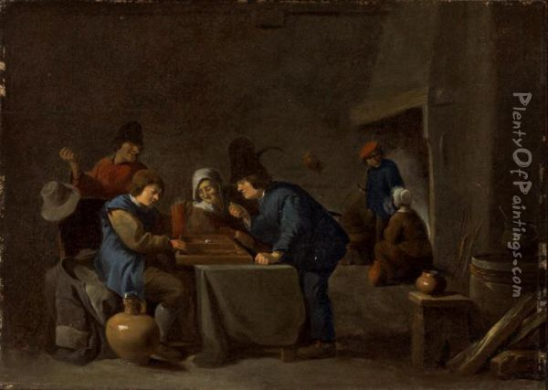 Peasants Playing Backgammon In A Tavern Oil Painting - David The Younger Teniers