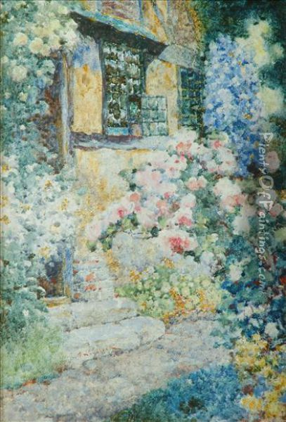 A Floral Cottageexterio Oil Painting - David Woodlock
