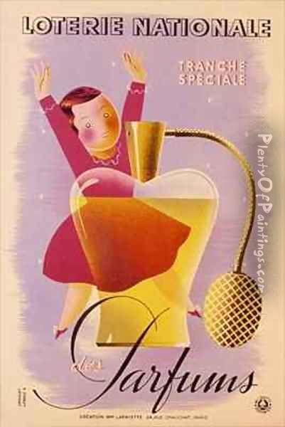 Poster advertising the French National Lottery Oil Painting - Derouet-Lesacq